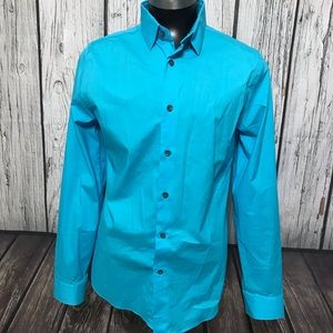 Men's Express 1MX Fitted Button Up Turquoise
